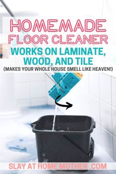 This easy DIY homemade floor cleaner smells amazing and cleans and disinfects your floors! Works great for wood, laminate, and tile flooring. cleaner Magic Homemade Floor Cleaner - SMELLS LIKE HEAVEN!