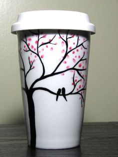 painted coffee cups | Ceramic Travel Mug Painted Coffee Cup Love Birds in Cherry Blossom ...
