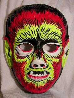 Werewolf, vintage plastic Halloween monster mask