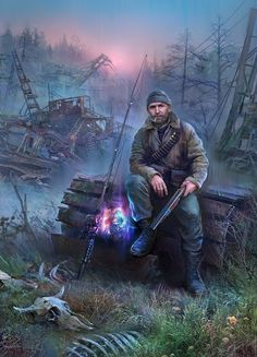 survival-horror computer game series (including Shadow of Chernobyl, Clear Sky, Call of Pripyat, and community mods. Apocalypse Character, Apocalypse Art, Apocalypse Survival, Metro 2033, Fantasy Comics, Fantasy Art, Apocalypse Landscape, Cthulhu, Roadside Picnic