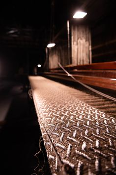 Otoño weave rug in natural fique fiber and stainless steel threads in our looms Woven Rug, Railroad Tracks, Weave, Fiber, Stainless Steel, Rugs, Natural, Rug Weaves, Farmhouse Rugs