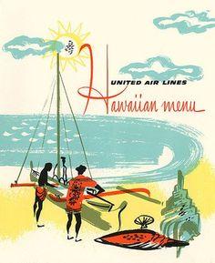 United Airlines Hawaiian menu, 1960s.