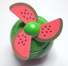 This bright coloured fruit themed fan provides a gentle aroma whilst you can appreciate the breeze omitted from the fan. A more interesting sensory take on a standard fan. Requires 4 x AA batteries