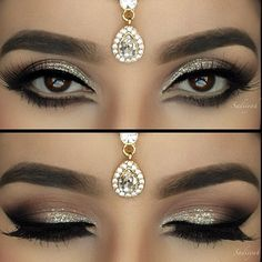 I REALLY like the below eyeliner. Arabian inspired makeup look - neutral with a little bit of sparkle