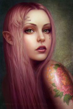Elves Faeries Gnomes: Omar Díaz Ilustración digital y diseño. Magical Creatures, Fantasy Creatures, Elfen Tattoo, Elf Art, Fantasy Kunst, Kobold, Legolas, Fantasy Women, Digital Portrait