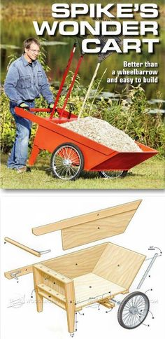 DIY Garden Cart - Outdoor Plans and Projects - Woodwork, Woodworking, Woodworking Plans, Woodworking Projects Diy Projects Plans, Cool Woodworking Projects, Diy Wood Projects, Teds Woodworking, Outdoor Projects, Project Ideas, Carpentry Projects, Wood Bench Plans, Garden Cart