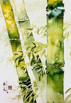 This watercolor is by a Malaysian artist (well, that's what I could find), but I thought it belonged in this category. Bamboo forest 竹 林 深 Watercolor by sia. Watercolor Trees, Watercolor Landscape, Chinese Painting, Chinese Art, Chinese Opera, Watercolor Techniques, Painting Techniques, Art Aquarelle, Watercolour Painting