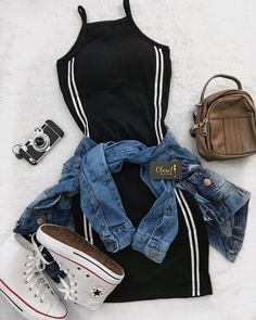 Mini Shirt Dress Outfit mit Jeansjacke und Converse - Outfits Pedia - New Ideas Converse Outfits, Jeans E Converse, Converse Jacket, Tumblr Outfits, Mode Outfits, Tumblr Clothes, Teen Fashion Outfits, Stylish Outfits, Fashion Dresses