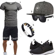 Men's style with Crone shirt, Djinns cap, sunglasses, black shorts, Halukakah bracelet and black Adidas sneakers. Casual Outfits, Men Casual, Fashion Outfits, Teen Jungs Outfits, Mode Shorts, Mens Trends, Herren Outfit, Dapper Men, Best Mens Fashion