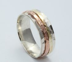 Wedding Ring ,Sterling Silver And 14k Gold Ring, Silver&Gold Wide Ring, Silver Spinning Ring, Meditation Ring, Spinner Ring by LIRANSHANI on Etsy