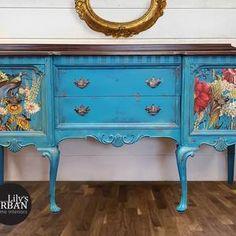 Decoupage Furniture, Blue Furniture, Painted Furniture, Fall Home Decor, Autumn Home, Home Bar Rooms, Farmhouse Kitchen Tables, Dixie Belle Paint, Oak Stain