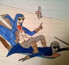 Assassins Creed Arno Dorian and Jacob Frye sandboarding drawing art.