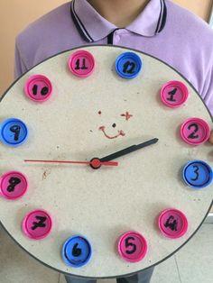 5/A sınıfından Elanur Doğrul tarafından yapılmış bir proje - Mukavva ve Şişe Kapaklarından Saat