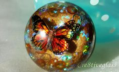 Beautiful rustic 3D monarch butterfly resin paperweight *ready to post* by Cre8tiveglass on Etsy