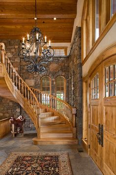 Wilson - Stairway. This, in my opinion is the most desirable part of this home. I love this stairway, it's so beautiful and tactile. It makes the wood just sing!   Home Furnishings & Interior Design