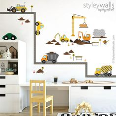 Construction Vehicles Wall Decal, Construction Site Wall Decal Sticker, Construction Trucks Road Wa - The Vehicles Boy Toddler Bedroom, Big Boy Bedrooms, Boys Bedroom Decor, Toddler Rooms, Boy Rooms, Teen Bedroom, Wall Decor Stickers, Wall Decals, Wall Sticker