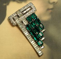 Vintage KTF Trifari Dress Clip 1930s Rhodium Plate Metal Rhinestones. Sold for $ 48.50