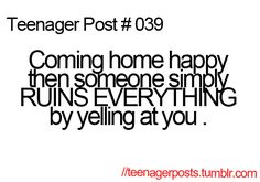 Not just for teenagers and walking into anything happy then suddenly surrounded by negativity