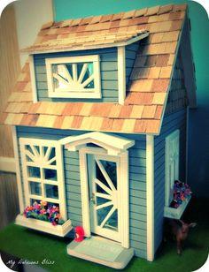 Shabby Chic doll house cottages | coastal cottage blythe sized doll house cottage w ith a shabby chic ...