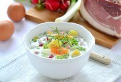 Hideg orosz zöldségleves (Okroshka) Kefir, Cheeseburger Chowder, Potato Salad, Mashed Potatoes, Soup, Tasty, Ethnic Recipes, Smash Potatoes, Soups