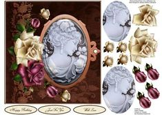 Antique Cameo Rose Topper with Layers on Craftsuprint - Add To Basket!