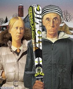 American Gothic in Park City American Gothic Painting, Grant Wood American Gothic, American Gothic Parody, Iowa, Grant Wood Paintings, Mona Lisa, Art Grants, Famous Artwork, Winter Painting