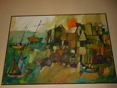 Abstract impressionist oil painting Mid century by artiques71