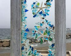 Beach glass panel in bright tones in a wave pattern with starfish