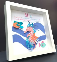 Personalized name origin and meaning 3d paper butterflies personalized name origin and meaning shadowbox frame with paper seahorse and fish custom newborn baby girl shower gift nursery wall art negle Choice Image