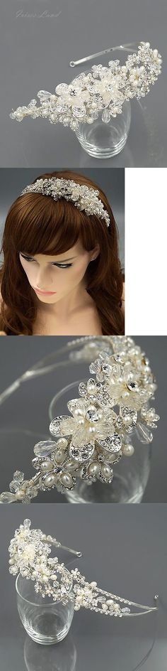 Hair and Head Jewelry 110620: Crystal Pearl Flower Headband Headpiece Tiara Bridal Wedding Accessory 00399 S BUY IT NOW ONLY: $38.99