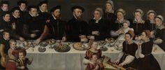 Family Portrait of Pierre de Moucheron, Merchant in Middelburg and Antwerp, his Wife Isabeau de Gerbier, their eighteen Children, their Son-in-Law Allard de la Dale and first Grandchild, 1563. Rijksmuseum, Public Domain