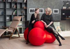 Puf tapizado de tela con funda extraíble THE BALL MODULAR Colección LINA® by LINA design d.o.o.