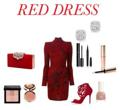 """""""Little Red Dress"""" by gennijan on Polyvore featuring Balmain, Bloomingdale's, Chanel, Marc Jacobs, Bobbi Brown Cosmetics, Ciaté, By Terry, women's clothing, women and female"""