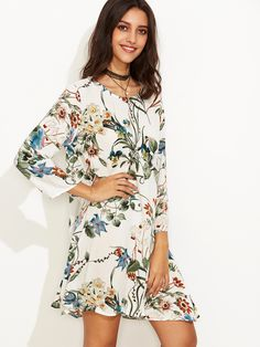 Shop White Tropical Print Swing Dress online. SheIn offers White Tropical Print Swing Dress & more to fit your fashionable needs.