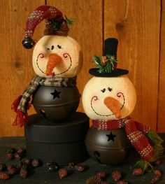 Whimsy Snowmen Bell Ornaments