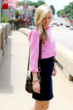 pink gingham and navy