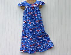 Girls Size 8, 100% COTTON Knit NIGHTGOWN for Christmas Holidays, Blue Waves, Ruffle, Ready to Ship (also in Size 6 and Size 10)