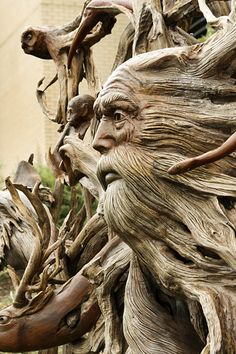 The Brute: I see his hair growing kind of like this. All connected, from front flowing to the back. Driftwood Sculpture, Tree Sculpture, Driftwood Art, Metal Sculptures, Abstract Sculpture, Bronze Sculpture, Wood Carving Faces, Wood Carving Designs, Tree Carving