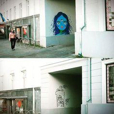 This blue 3-eyed girl was sprayprinted by random passers-by during @stencibility Street Art Festival  Artwork by @k2rte  #streetart #art #streetartfestival #beforeandafter #wallart #illustration #printmaking #painting #portrait #thirdeye #tartu #tartustreetart #urbanintervention