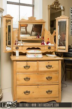 Found at The Find Today! Antique Pine Vanity Dresser is as charming as it is functional. Triple Mirror accentuates the lovely vanity top while the drawers provide ample storage space. Make The Find a stop on your Sunday drive and see what treasures you can Find! The Find is open today from 10:00 a.m. until …
