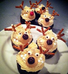 Peanut Butter Chocolate Deer Cupcakes with Pretzel Antlers