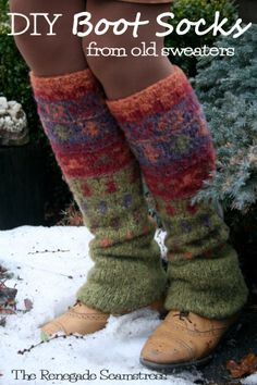 Upcycle a #Goodwill store sweater to cozy warm boot socks with this new sew tutorial by the Renegade Seamstress