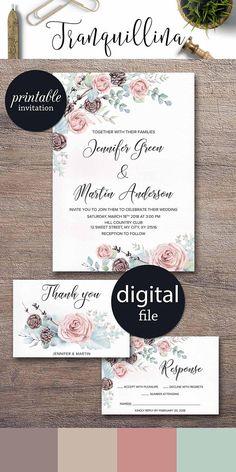 Floral Winter Wedding Invitation, Floral Wedding Invitation Christmas Wedding Invitation Printable Watercolor Wedding invitation Pink Mint