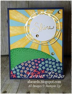Make using Stampin' Up Sunburst thinlit & Swirly Bird Thinlit