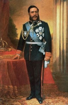 Portrait of King David Kalakaua (1836-1891) Hawaii, husband of Queen Kapiolani (1834-1899), by William Cogswell. During his reign 1874-1891, hula was revived after having been banned in 1830 by Queen Ka'ahumanu after she had converted to Christianity. In 2015 his name lives on in the Merrie Monarch Festival, a hula festival named for him. He also revived the Hawaiian martial art of Lua & the sport of surfing.