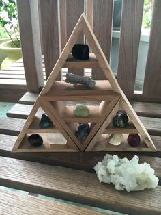 Four Shelves in One, Triangle Shelves, Pyramid Shelves, Lot of Triangles, Raw Triangle Shelf, Raw Pyramid Shelf, Four Small Shelves, Organic