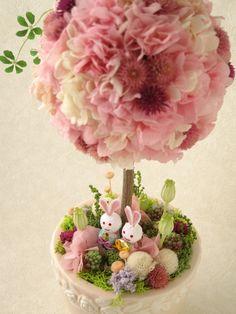 あじさいのトピアリー(うさぎのお雛様) 【プリザーブドフラワー】 【ひな祭り 桃の節句 お祝い】