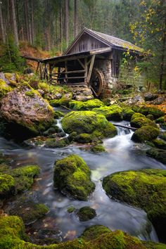 Old water mill by Kai Süselbeck, via 500px. This reminds me of a picture my sister painted.