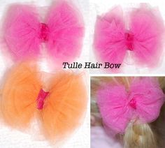 The Polka-Dot Umbrella: Tulle Hair Bows - You need:   2- 48 X 2.5 inch strips of tulle 4 inches of ribbon Hair Clip for the back Hot glue gun