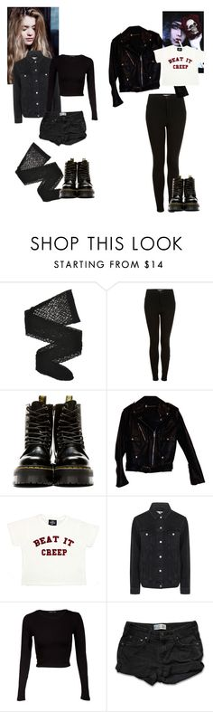 """""""Which One Should I Wear Today?"""" by witchblood ❤ liked on Polyvore featuring Wolford, Topshop, Dr. Martens, Harley-Davidson, Valfré, Miso and Levi's"""